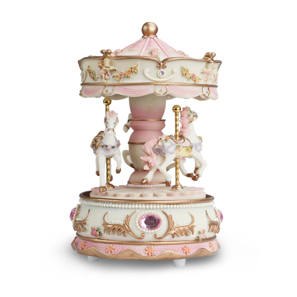Dragon-Hub 3-Horse Carousel Music Box Gifts for Kids Children Women Christmas Birthday Valentine's Gifts Decorations Melody Carrying You from Castle in The Sky(Laputa) Dragon-Hub-3H