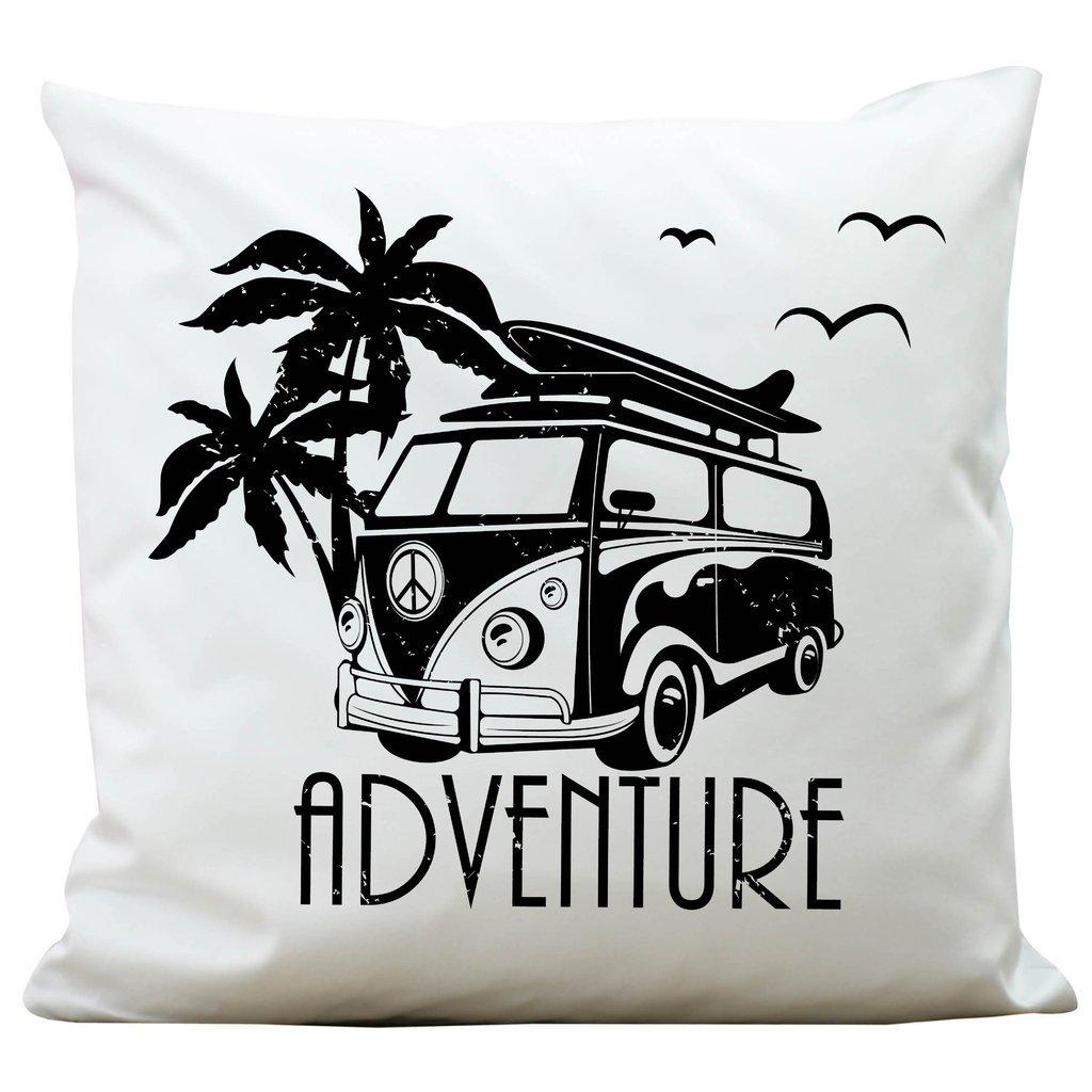 """Kissen """"Bulli Adventure"""" mit Palmen von Wandtattoo-Loft ® / Aus 100 % Polyester 40 x 40 cm / Mit Füllung und hochwertigem Aufdruck / Waschbar Wandtattoo-Loft.de®"""