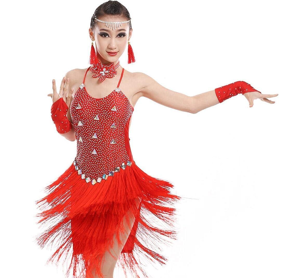 SMACO Gonna da Ballo per Bambini, Costume Latino Sfrangiato da Bambini Costume da Ballo Concorrenza Diamanti Femminili Vestiti di Prova di Pratica di Ballo di Danza Latina 1221SUNY