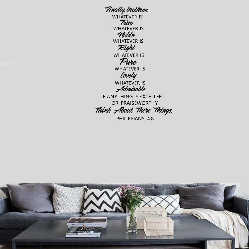 Vinyl Wall Lettering Stickers Quotes and Saying Wall Sticker Decals Finally Brethren Whatever is True Whatever is Noble Think About These Things Philippians 4:8 for Living Room Bedroom Home Decor