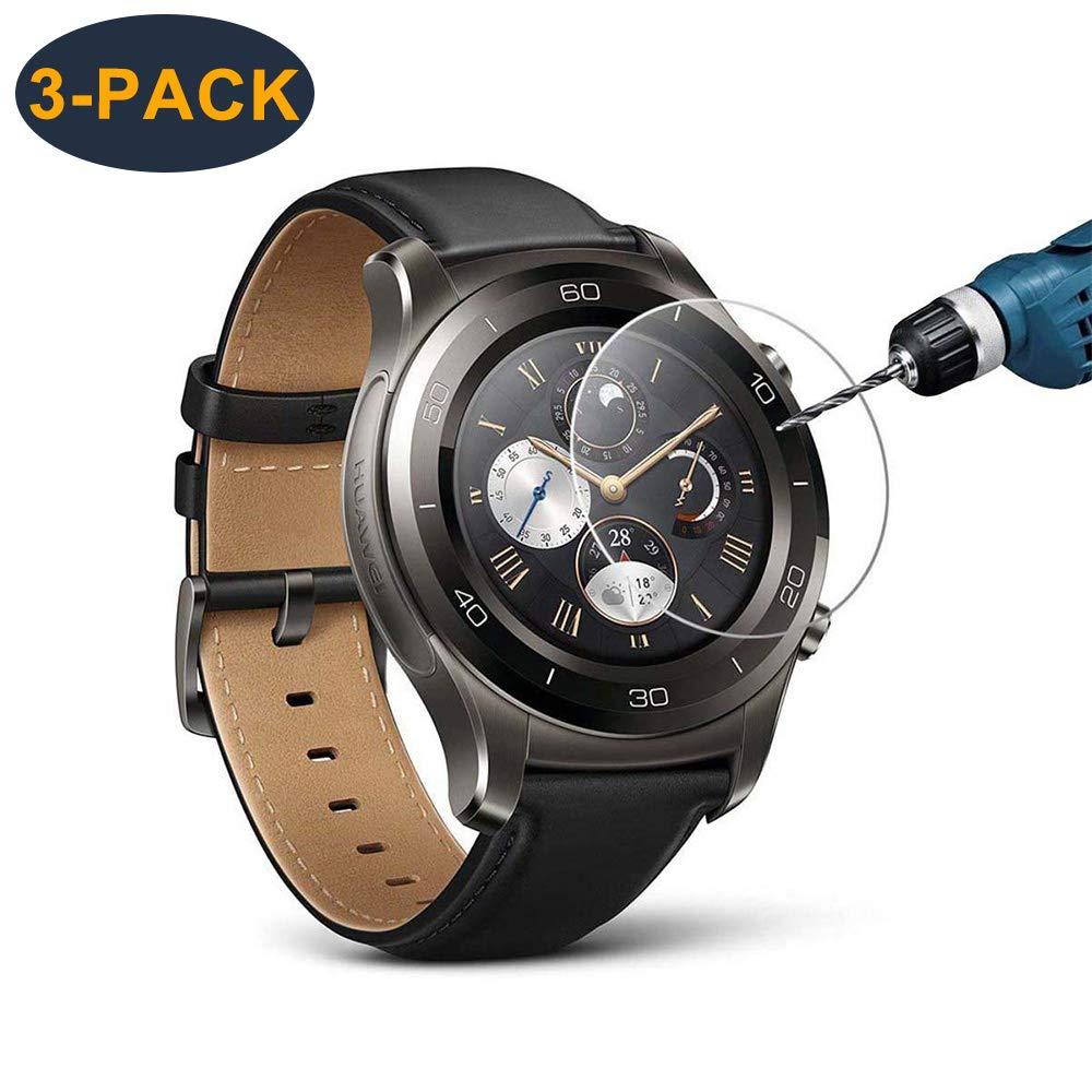 Huawei Watch 2 protector de pantalla (3 paquetes), CAVN de vidrio templado protector de pantalla para Huawei Watch 2, 9 h dureza 2.5 d arco bordes de ...