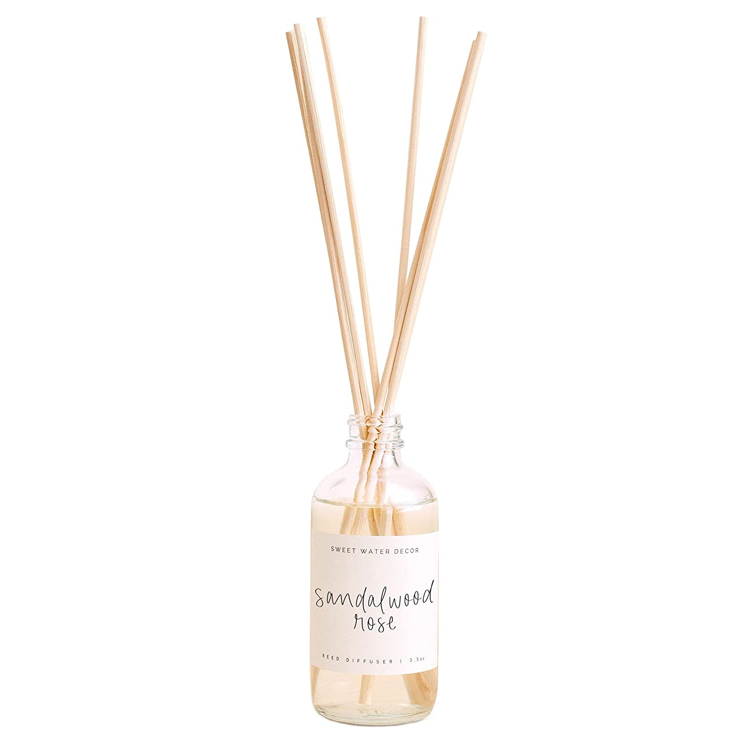 Sweet Water Decor Sandalwood Rose Reed Diffuser Set   Leafy, Winey, Rose, Vanilla, Musk Scented Diffusers   Fragrance Oils   Home Decor   Housewarming Gift   Aromatic Stress Relief