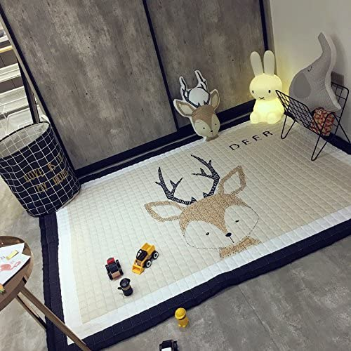 MadeDress 100% Cotton Kid Children Antiskid Carpet Rug Play mat Kids Crawling Mat (Deer, 145195cm)