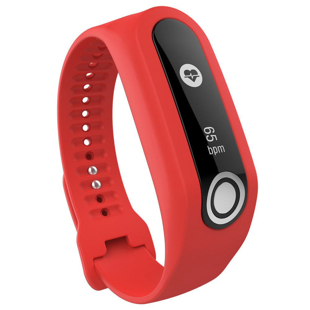 CSSD Fashion Replacement Silicone Watch Bands Strap for Tomtom Cardio Activity Tracker (Red)