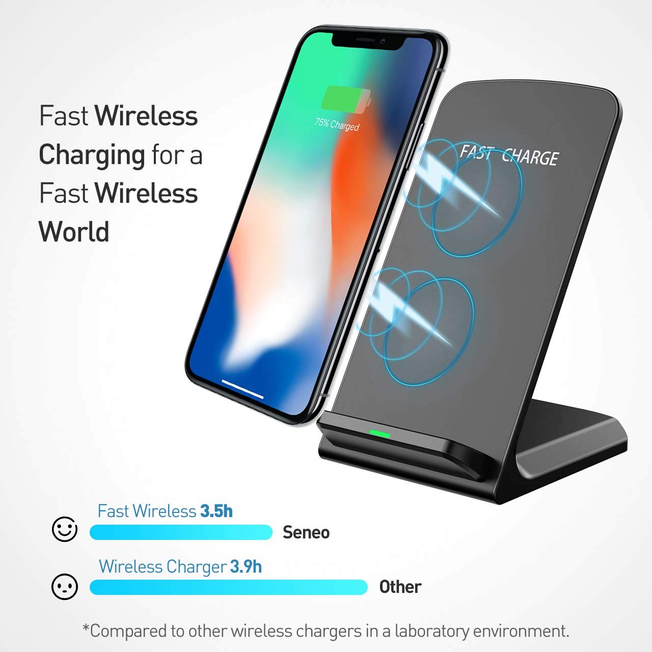 Seneo (Upgraded) Wireless Charger, Qi Certified Fast Wireless Charger Stand with QC 3.0 Adapter for Galaxy S9/S9+ Note 8/5 S8/S8+ S7/S7 Edge S6 Edge+, Standard Qi Charger for iPhoneX/8/8 Plus by Seneo (Image #2)