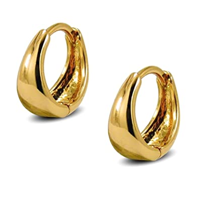 Small Tapered Hoop Earrings Womens 9ct Gold Filled Small Huggie