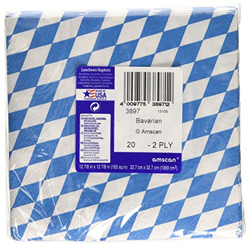 Amscan International Oktoberfest Bavarian Blue & White Check Paper Party Lunch Napkins (20 Pack)