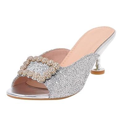 UH Damen Peep Toe Pantolette Mules mit Blockabsatz und Schleife Strass Fashion Schuhe NJxhp1