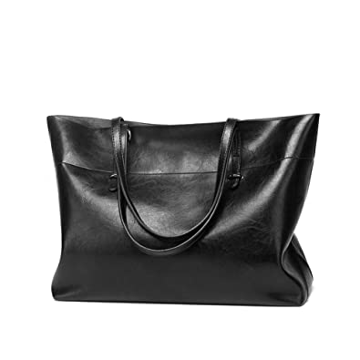 8d87073f69c7 VECHOO Women s Vintage Tote Large Capacity Shoulder Bag Handbag Shopping Bag  (Black)