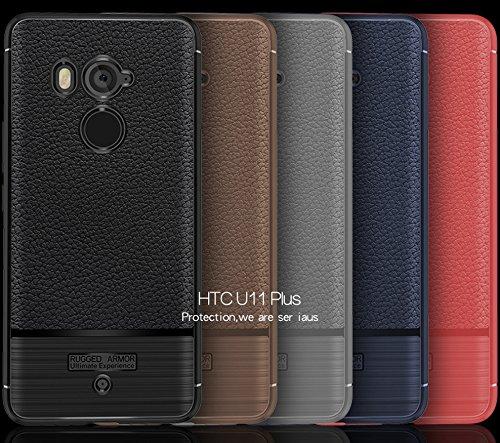 Funda HTC U11 Plus,Funda Fibra de carbono Alta Calidad Anti-Rasguño y Resistente Huellas Dactilares Totalmente Protectora Caso de Cuero Cover Case Adecuado para el HTC U11 Plus D