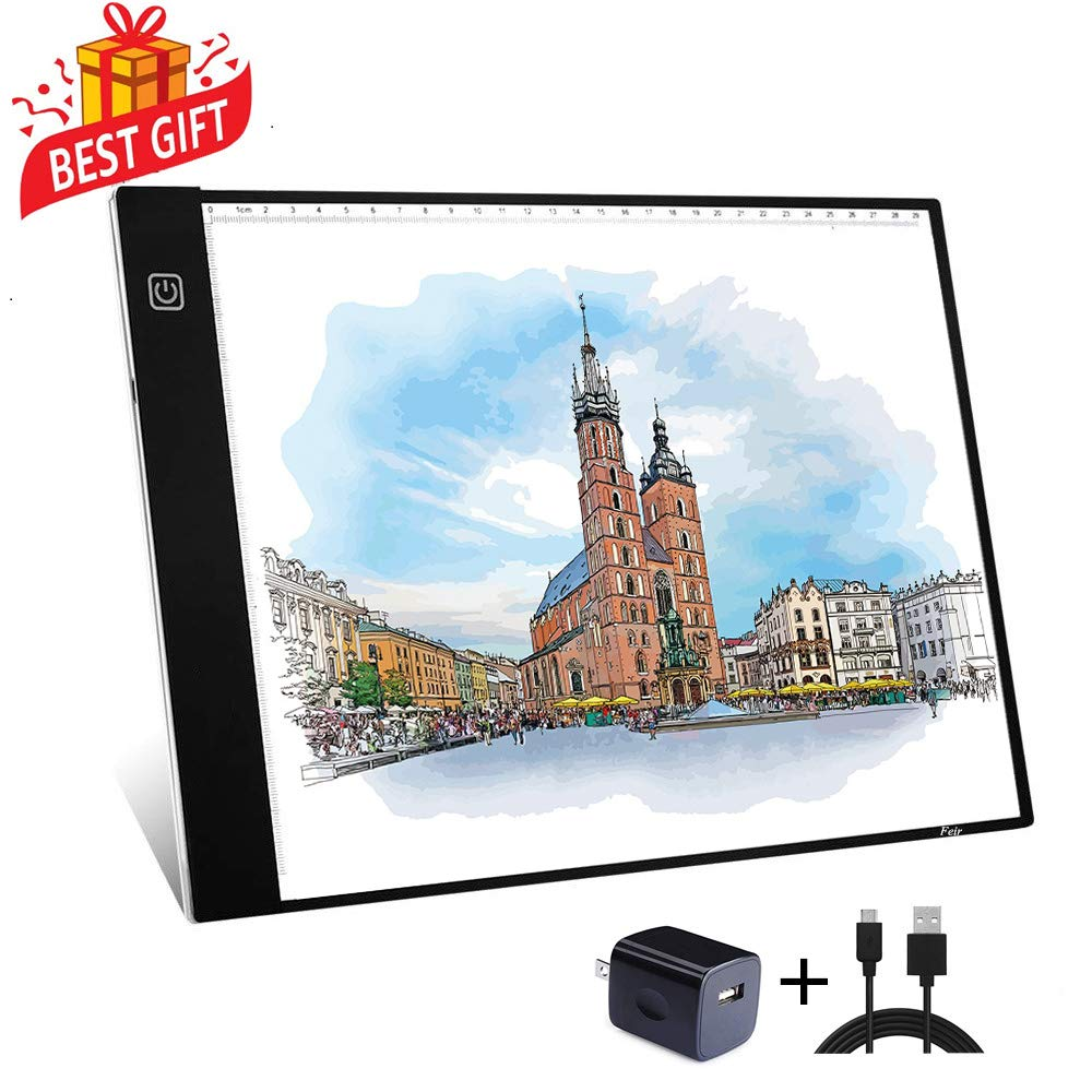 A4 Tracing Light Box Portable LED Light Table Tracer Board Dimmable Brightness Artcraft Light Pad for Artists Drawing 5D DIY Diamond Painting Sketching Tattoo Animation Designing by Feir