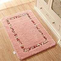 Sytian Decorative Beautiful Rural Style Rose Flower Rug Morden Shaggy Area Rug Soft Bedroom Rug Living Room Carpet Non-slip Bath Mat Bathroom Shower Rug (Pink,31.49x43.31 Inch)
