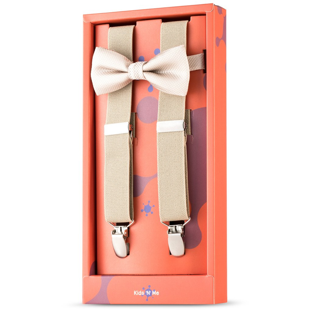 Kid n' Me Kids Adjustable Elastic Suspenders And Bow Tie Gift Set Solid Color Perfect for Babies, Toddlers, Boys and Girls Tan 22 Inch (6 Months - 30 Months)