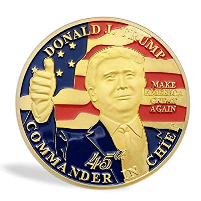 blinkee 45th US President Donald Trump Thumbs Up on USA Flag Commemorative Gold Coin: Toys & Games