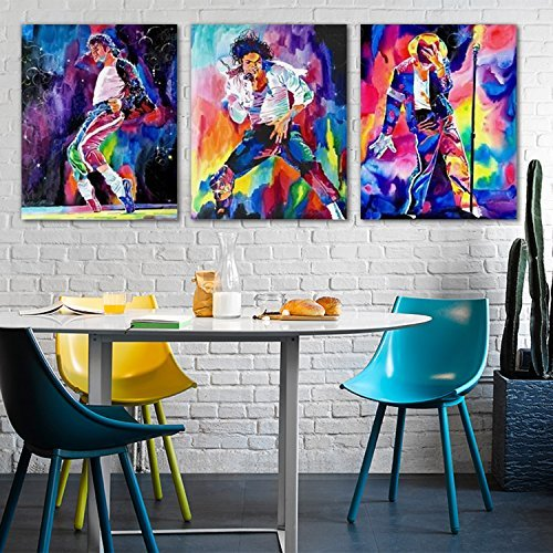[Raybre Art 3pcs Canvas Print - Michael Jackson's Classical Dance Steps - Painting Abstract Modern Colors Oil Painting for Wall Art Home Decor Room without frame or frame (Without] (Michael Jackson Decorations)