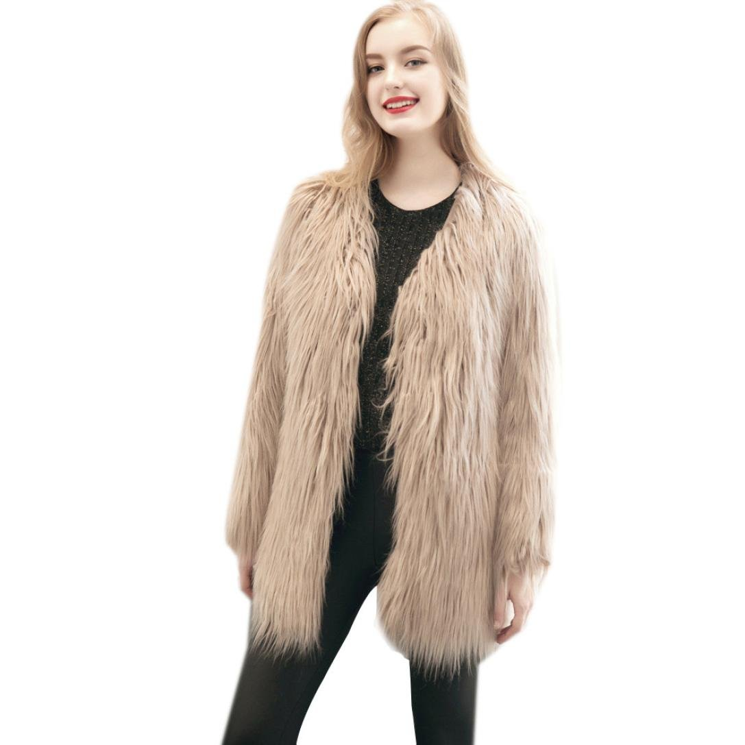 Perman Womens Winter Warm Faux Fur Short Coat Jacket Parka Outerwear Tops (S, Khaki - Long)