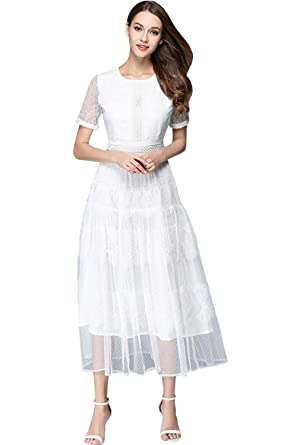 62e8406b1fd1 Unomatch Women Long Length Elegant Look Party Wedding Dress White (X-Small,  White