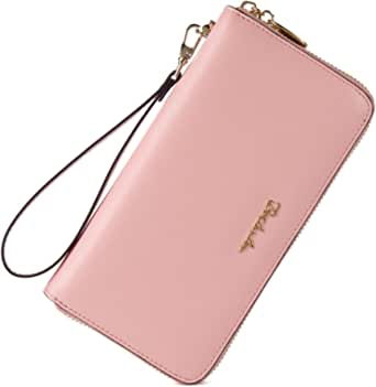 BOSTANTEN Women Leather Wallet Clutch Purses Card Cash Holder Long Wallets Pink