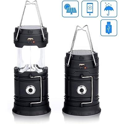 Lámpara de Camping FAGORY Luces Camping Solar Lámpara de Luz LED Exterior Plegable Impermeable, Recargables Bateria Linterna, para Acampar, garajes, Pesca, Emergencia, Cortes de Suministro eléctrico