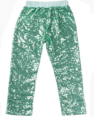 Messy Code Baby Girls Sequin Pants Leggings Kids Pants Clothes For Toddlers Mint - Gold Store Green