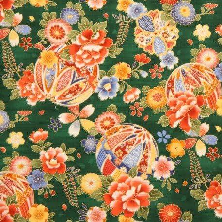 Tela satén de algodón con textura verde pelota decorada flor ...