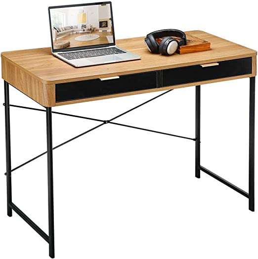 "48""L Wood Modern Computer Table Storage Study Working Desk w// Slide Out Drawers"