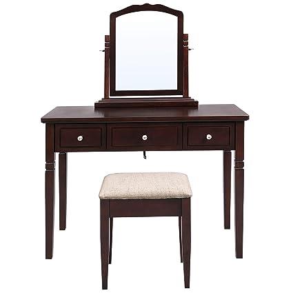 Amazon Com Vasagle Vanity Set With 3 Big Drawers Dressing Table