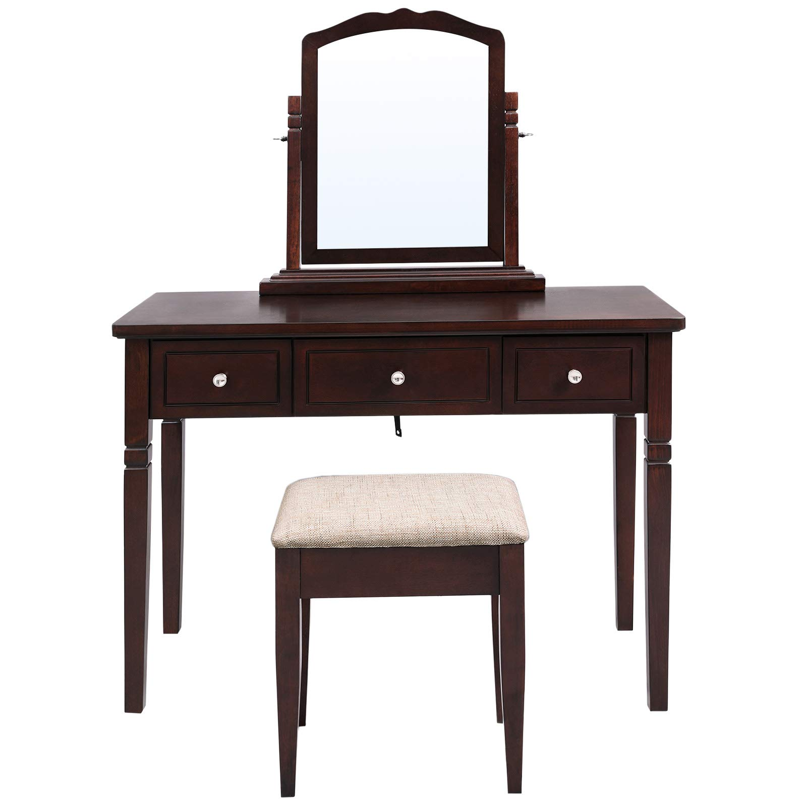 VASAGLE Vanity Set with 3 Big Drawers, Dressing Table with 1 Stool, Makeup Desk with Large Rotating Mirror, Multifunctional, Easy to Assemble, Wood Grain Surface, Brown URDT106BR