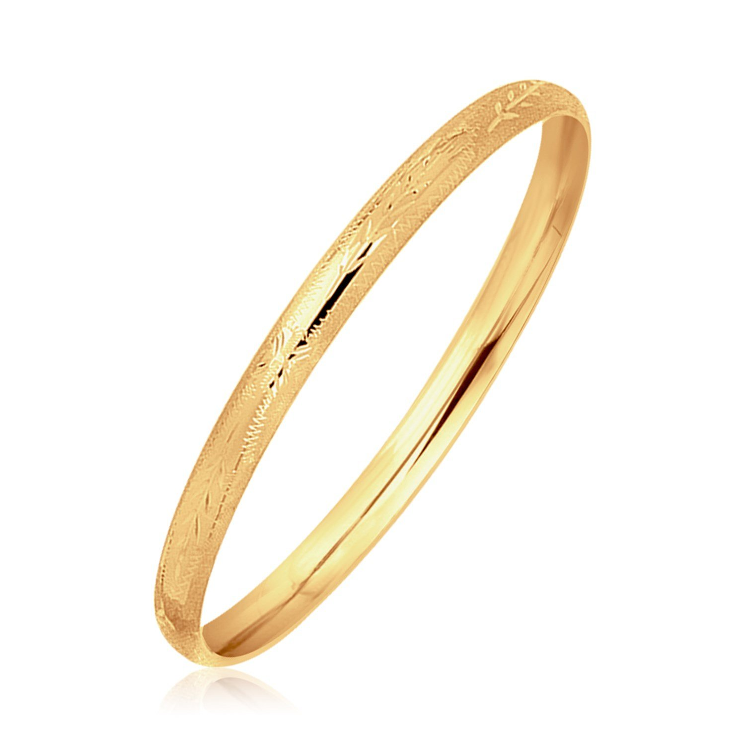 Bunnyberry 14K Yellow Gold Dome Style Childrens Bangle with Diamond Cuts