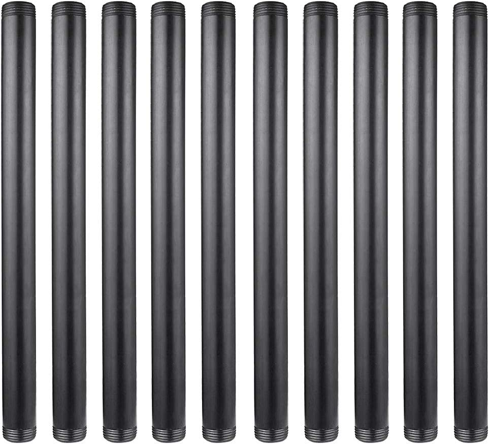 GOOVI 1 Inches x 16 Inches Black Malleable Steel Pipe Fitting, Black Pipe Threaded Pipe Nipples, Build Vintage DIY Shelving Steampunk Furnitur, 10 Pack.