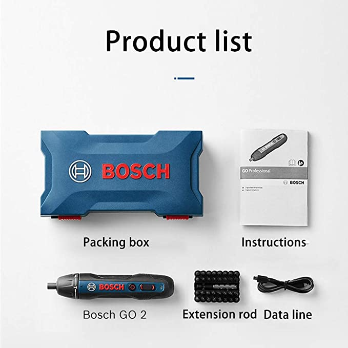 Bosch GO 2 Kit Smart Screwdriver with 33pcs Accessories Micro USB Cable,Dual-Activation Mode,HEX Bit Holder,360RPM