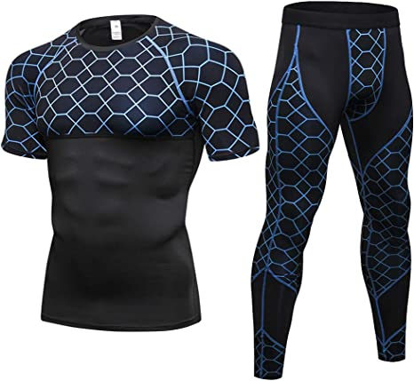 Mens Compression Workout Clothes Shirt Running Shorts Quick Dry Sports Set 2Pcs
