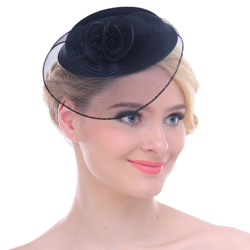 FAYBOX Vintage Mesh Wool Felt Pillbox Flower Women Fascinator Hat Hair Clip Blk