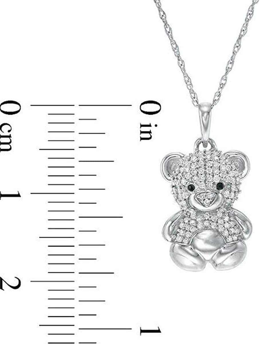 D//VVS1 Diamond Party Wear Horse Pendant Necklace for Women Girls 14K White Gold Over .925 Sterling Silver
