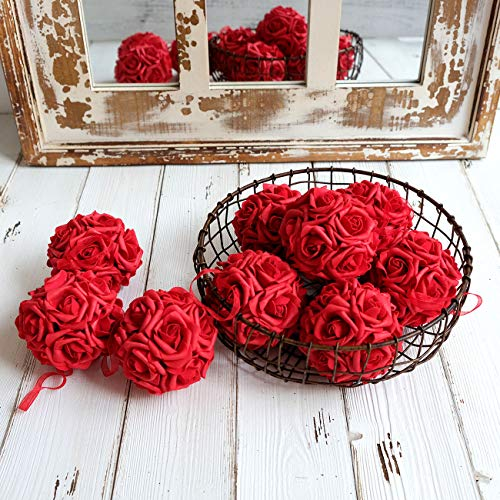 Kissing Ball Centerpieces - idyllic 9pcs Rose Flower Foam Kissing
