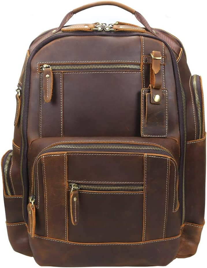 OakHide Mens Full Grain Leather 15.6 Laptop Backpack Large Capacity Weekender Overnight Camping Travel Rucksack