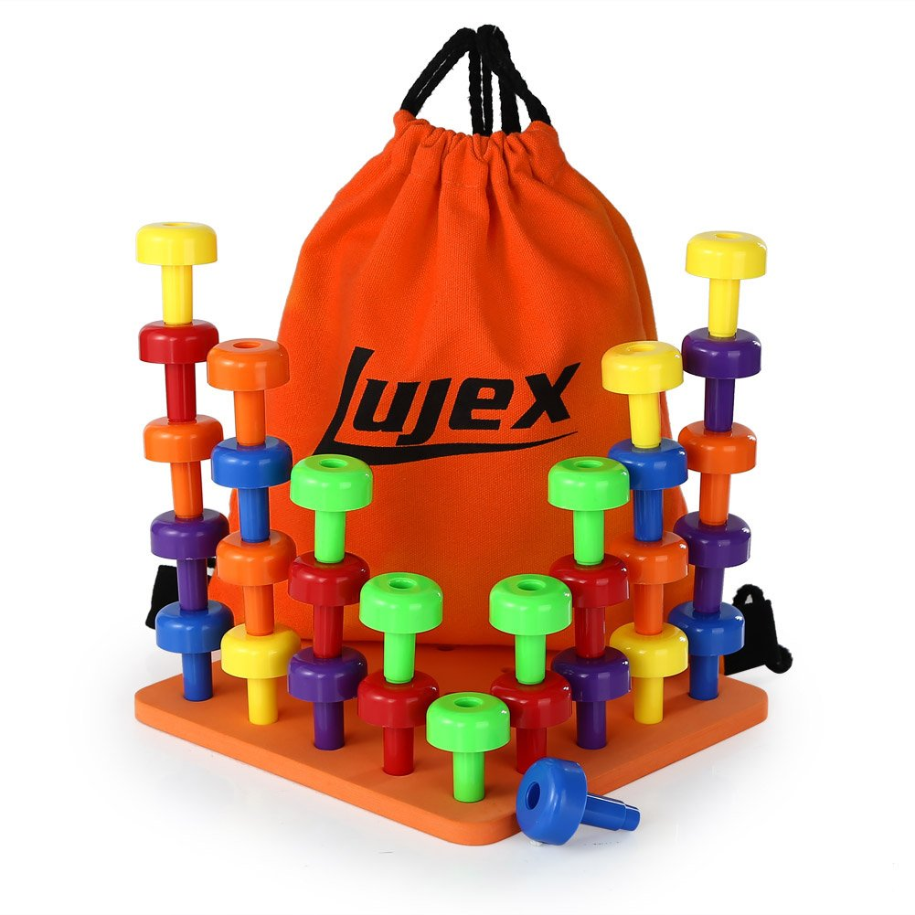 Lujex 30Pcs Peg Board Set Activity Pegboard Motor Skills Toy for Toddlers and Preschoolers 30 Pegs in Board for Color Recognition Sorting Counting