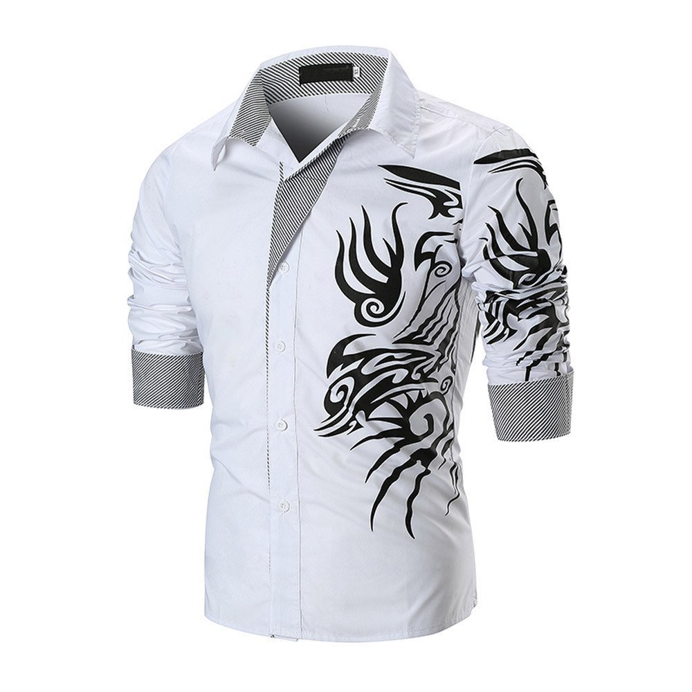 Men's Shirt-HOT SALE!! Farjing Men's Summer Casual Slim Long Sleeve Printed Shirt Top Blouse(L,White)