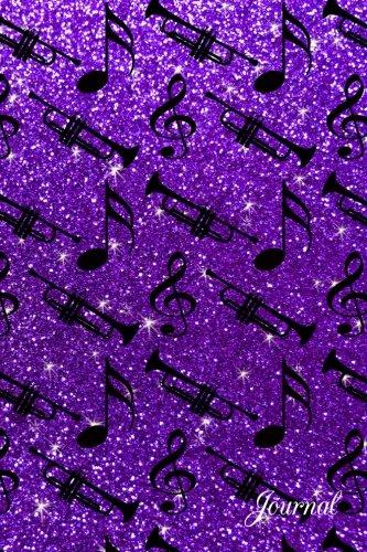 Journal: Faux purple glitter music notes trumpet notebook - Art Tromba