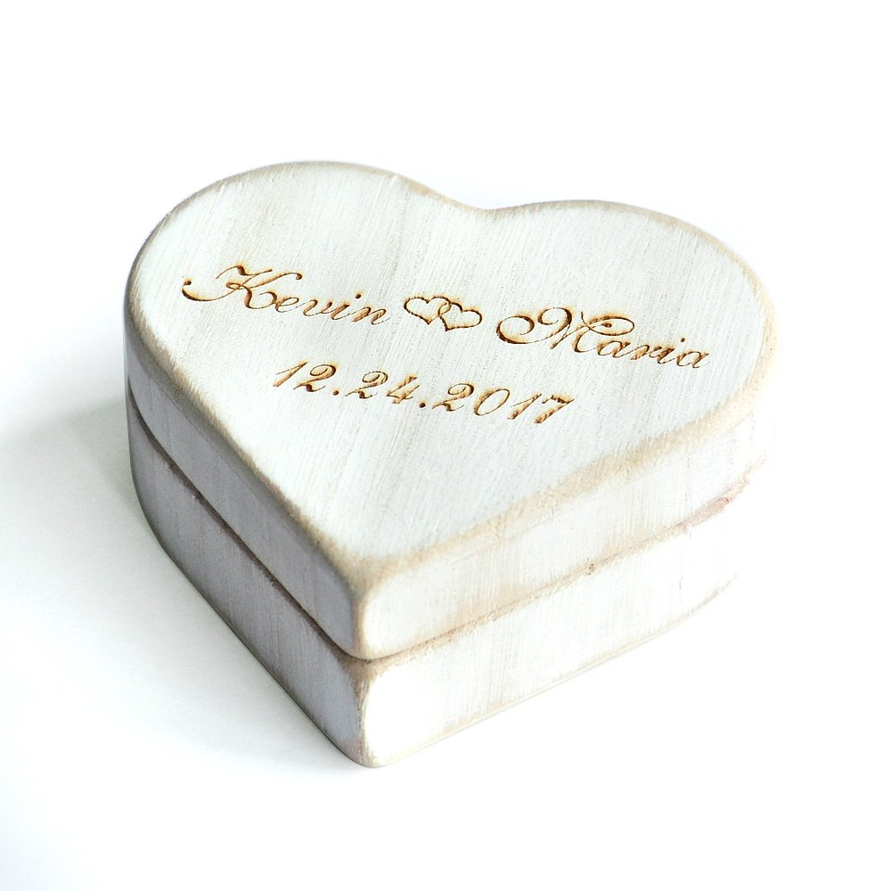 Custom Wedding Ring Box Vintage Shabby Chic Wood Rustic Heart Wedding Ring Box