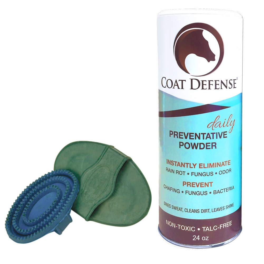 COAT DEFENSE Bundle. 24 Ounce Daily Preventative Powder with Free Rubber Curry Comb. Dries, Cleans, Deodorizes. Treats & Prevents Rain Rot, Mud Fever, Scratches, Sweet Itch, Rainscald. Made in USA.