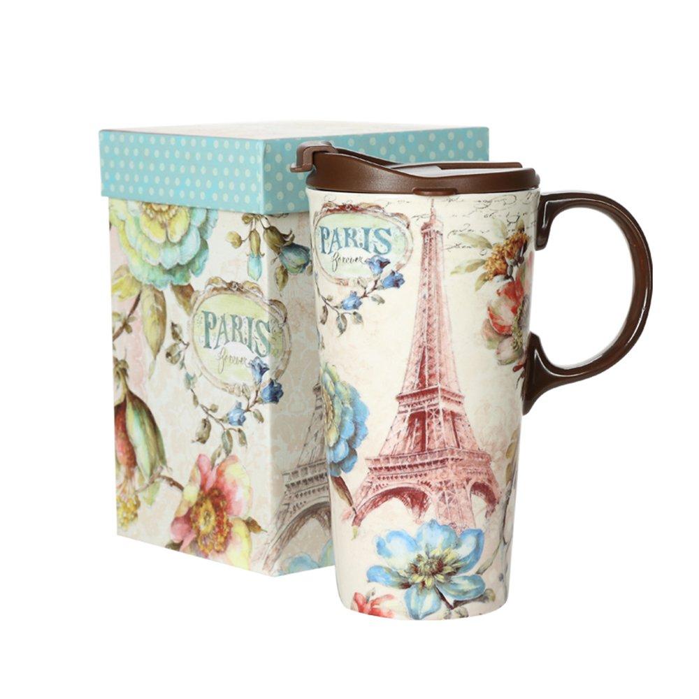 Tall Ceramic Travel Mug 17 oz. Sealed Lid With Gift Box Paris