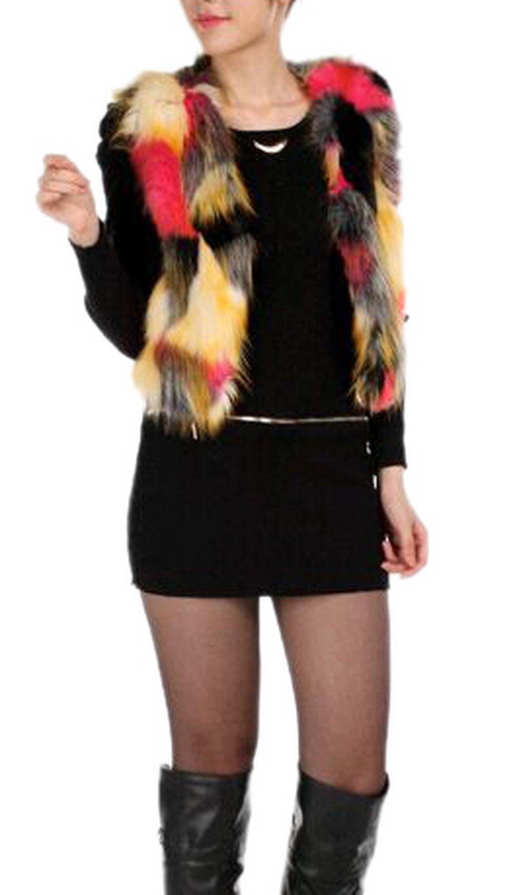 Enlishop Women V Neck Short Colorful Cropped Jacket Faux Fur Vest Cardigan Red