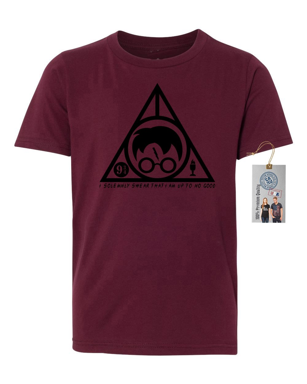 Harry Potter Solemnly Swear Triangle Youth Short Sleeve Shirt Maroon M by Custom Apparel R Us (Image #1)