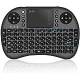 Ewin® ミニ キーボード ワイヤレス mini Wireless Keyboard 2.4GHz 日本語JIS配列 92キー キーボード マウス一体型 多機能ボタン タッチパッド搭載 無線 USBレシーバー付属 接続簡単!【日本語説明書と1年保証付き】ブラック
