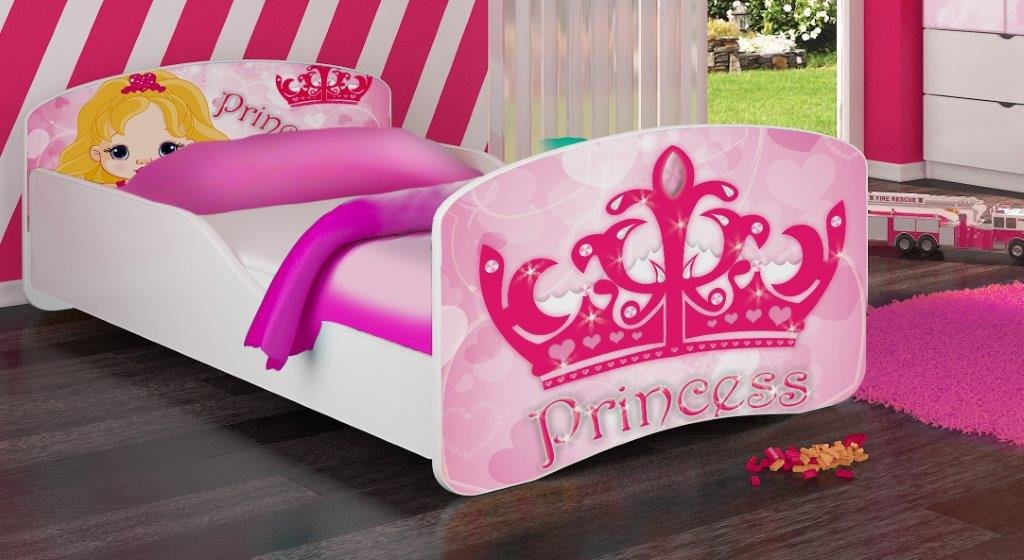 Amazon.com: Kids Twin Size Platform Bed Frame, Princess Design, Pink ...