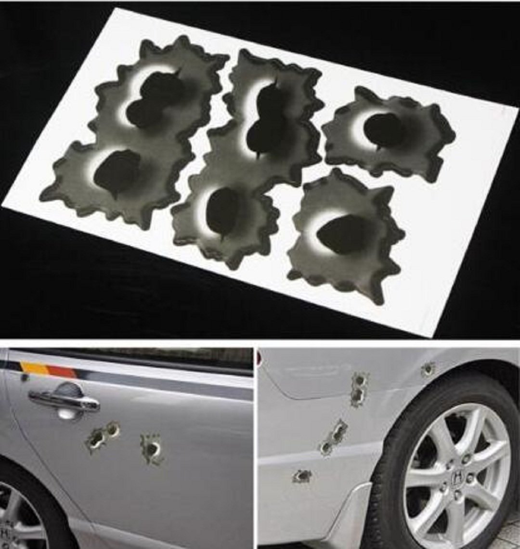 Wendin 3 pcs Pack Fake Bullet Holes Funny Car Helmet Stickers Decals Emblem Symbol for Toyota BMW VW Volkswagen Ford Buick Porsche