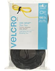 """Velcro Brand 91140 ONE-WRAP Thin Self-Gripping Cable Ties: Reusable, Light Duty - 8"""" x 1/2"""" Ties, 100 Pack, Black"""