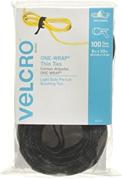 Velcro  One-Wrap  Strap  8 in L x 1//2 in W Black  5 pk