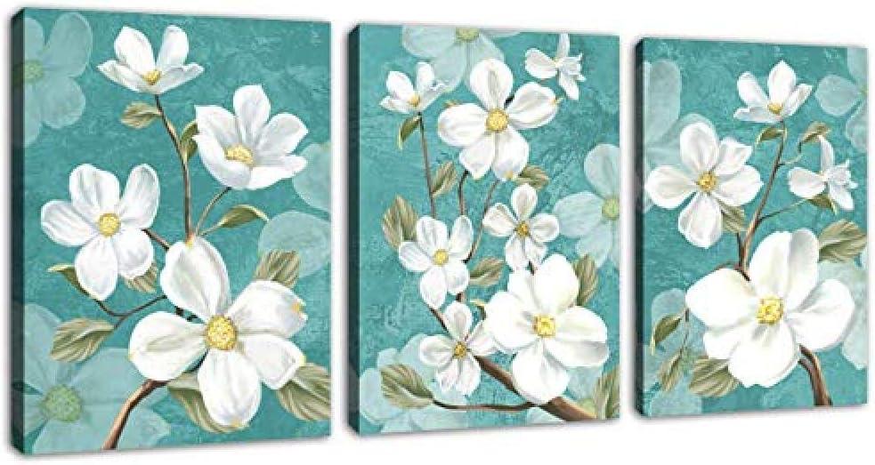 Fondo abstracto de flor azul Flores blancas Arte de la pared Flor Cuadro de lienzo Baño Decoración de la pared Arte moderno para el dormitorio Sala de estar Decoración del hogar 60 * 80 cm * 3